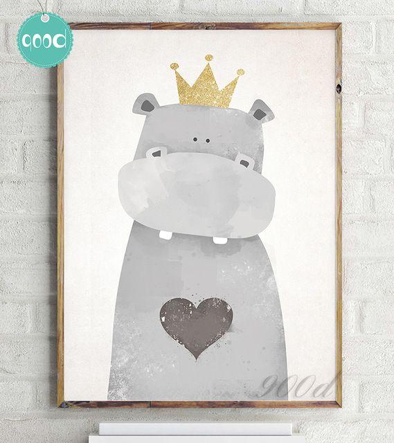 Cartoon Leuke Hippo Canvaskunst Schilderen Poster, muur Foto voor Woondecoratie, muur Decor FA400-1