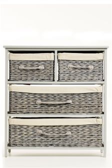 4 Drawer Grey Wicker Wide Storage Unit  sc 1 st  Pinterest & 4 Drawer Grey Wicker Wide Storage Unit | DECOR | Pinterest | Towel ...