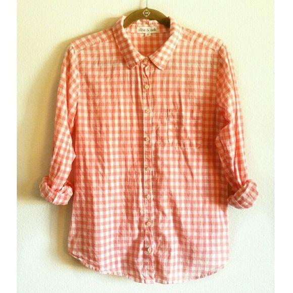 Olive & Oak orange gingham button down shirt | Hemline and Gingham