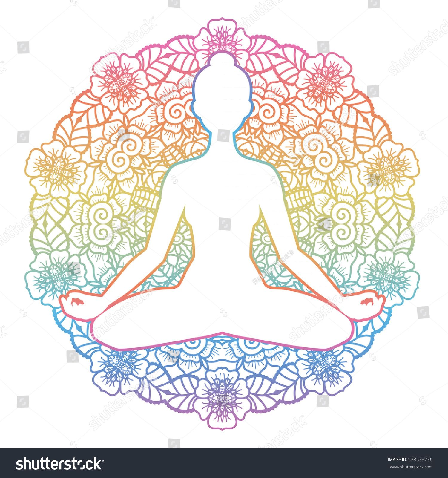 Women Silhouette Mandala Round Background Yoga Lotus Pose  # Ragla Muebles Infantiles