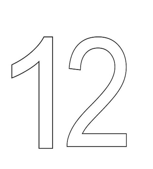 Número 12. Para imprimir, pintar, colorear. | graciela | Pinterest