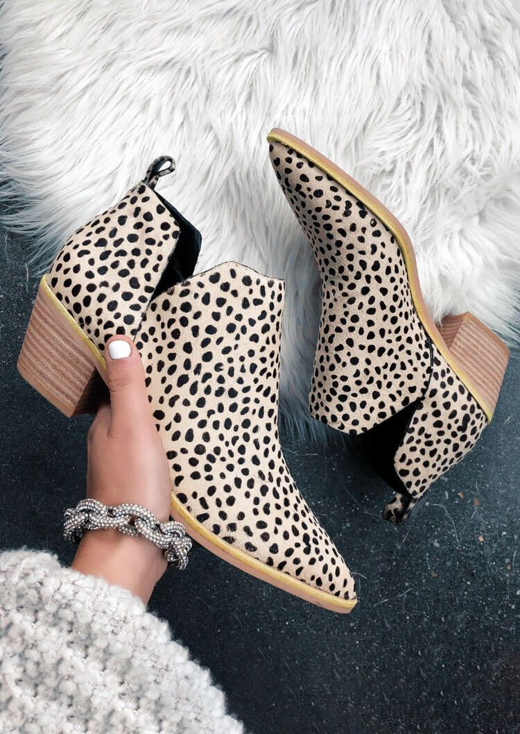 Leopard Chunky Heel Pointed Toe Ankle