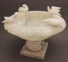 Italian Alabaster Vintage Pedestal Bird Bath With Birds 97hr113 Removed Ceramic Bird Bath Stone Bird Baths Alabaster