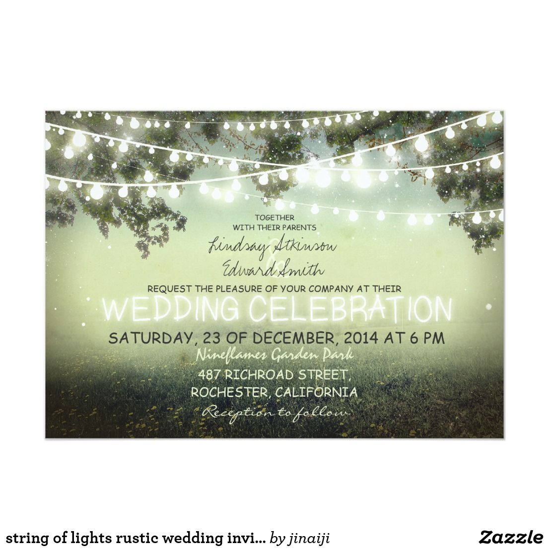String Of Lights Rustic Wedding Invitation Rustic Wedding