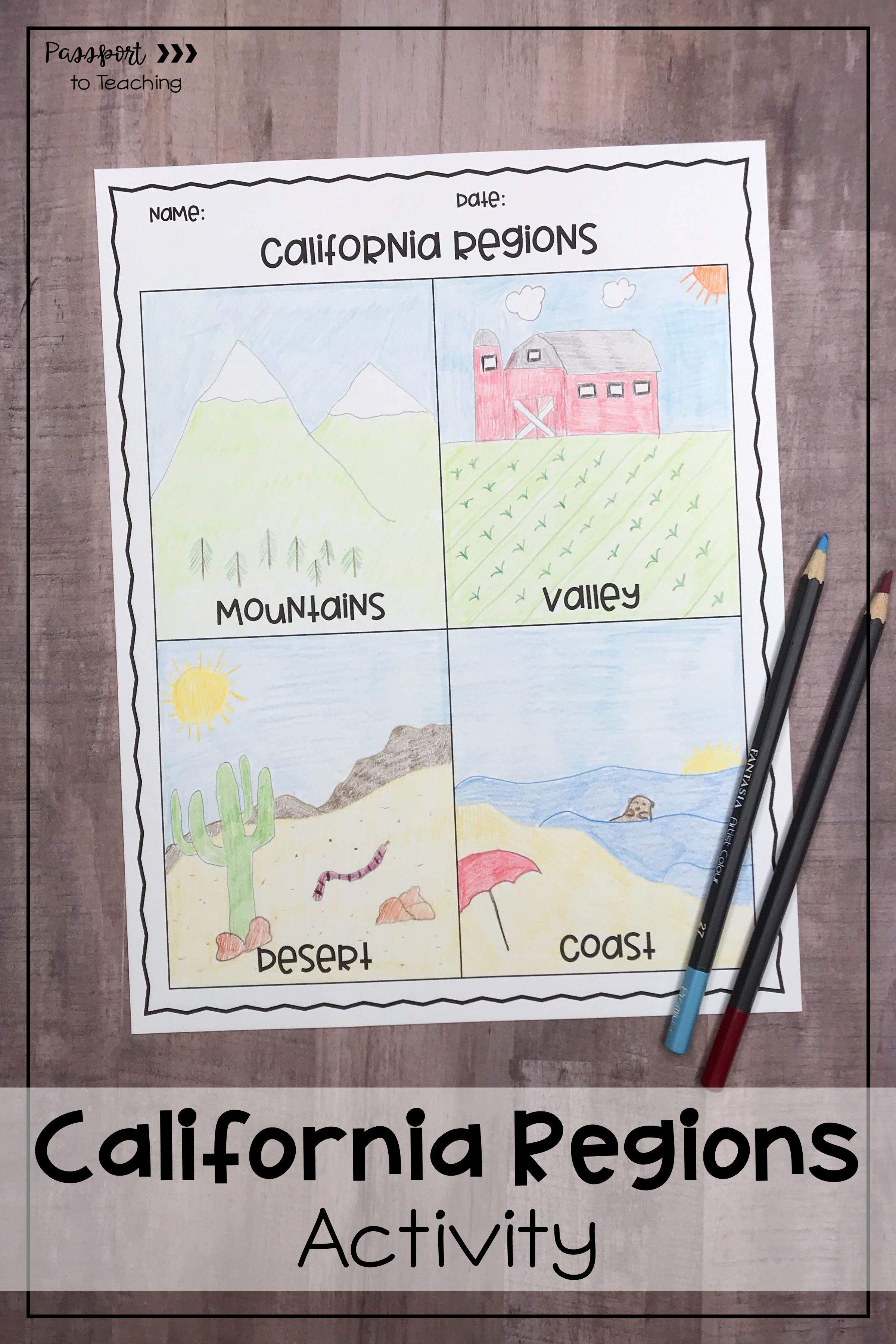 California Regions Four Square Activity