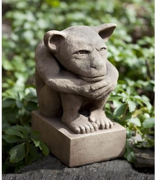 Campania International Sitting Gargoyle Cast Stone Garden Statue   Garden  Statues At Hayneedle