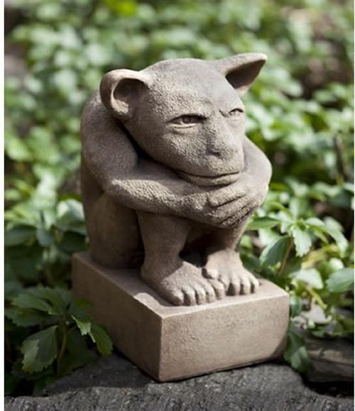 Campania International Sitting Gargoyle Cast Stone Garden Statue