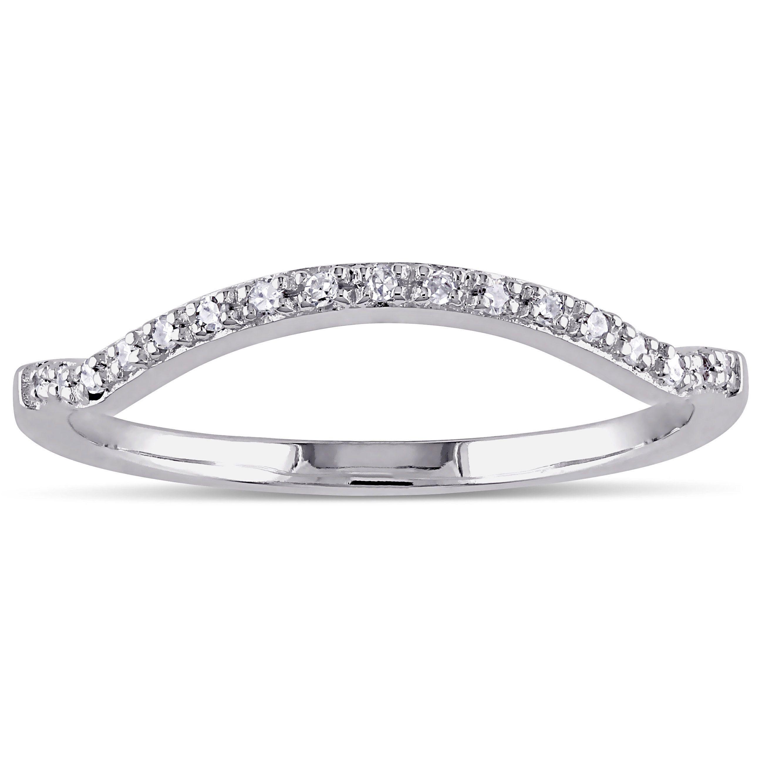 Miadora 10k White Gold Diamond Accent Contour Anniversary