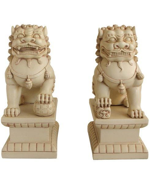 Set of Two Guardian Lion (Fu Dog) Statues in Stone Finish, 18 Inches