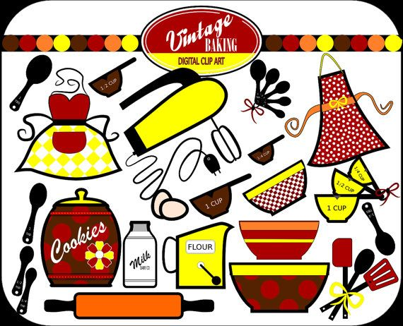 vintage baking digital clip art instant download colors red rh pinterest co uk kitchen clipart background kitchen clip art free images