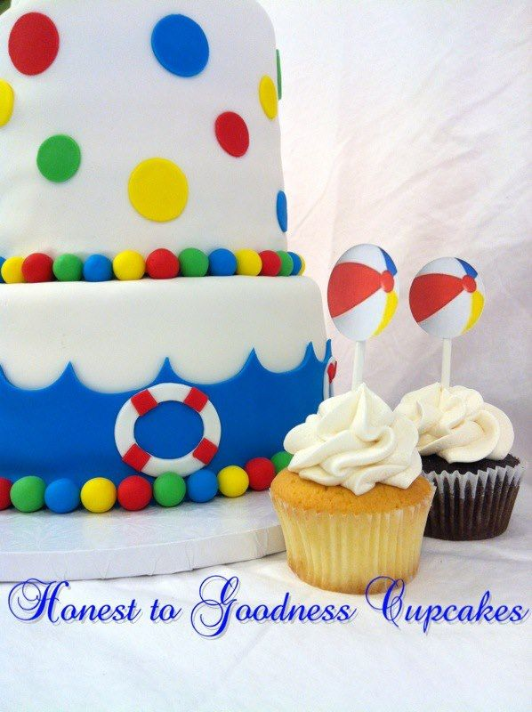 Beach Ball Beach Party Cake Cupcakes With Images Pool Party