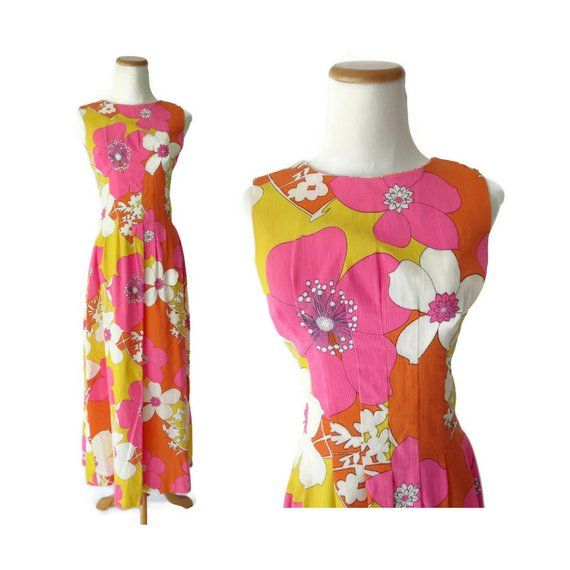 ccd6ae031e1 Flower Power Dress 70s Maxi Hippie Psychedelic 1970s Mod Floral Print Neon  Pink Orange Yellow Flower