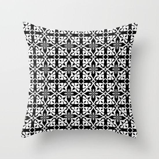 geometric pattern white on black Throw Pillow