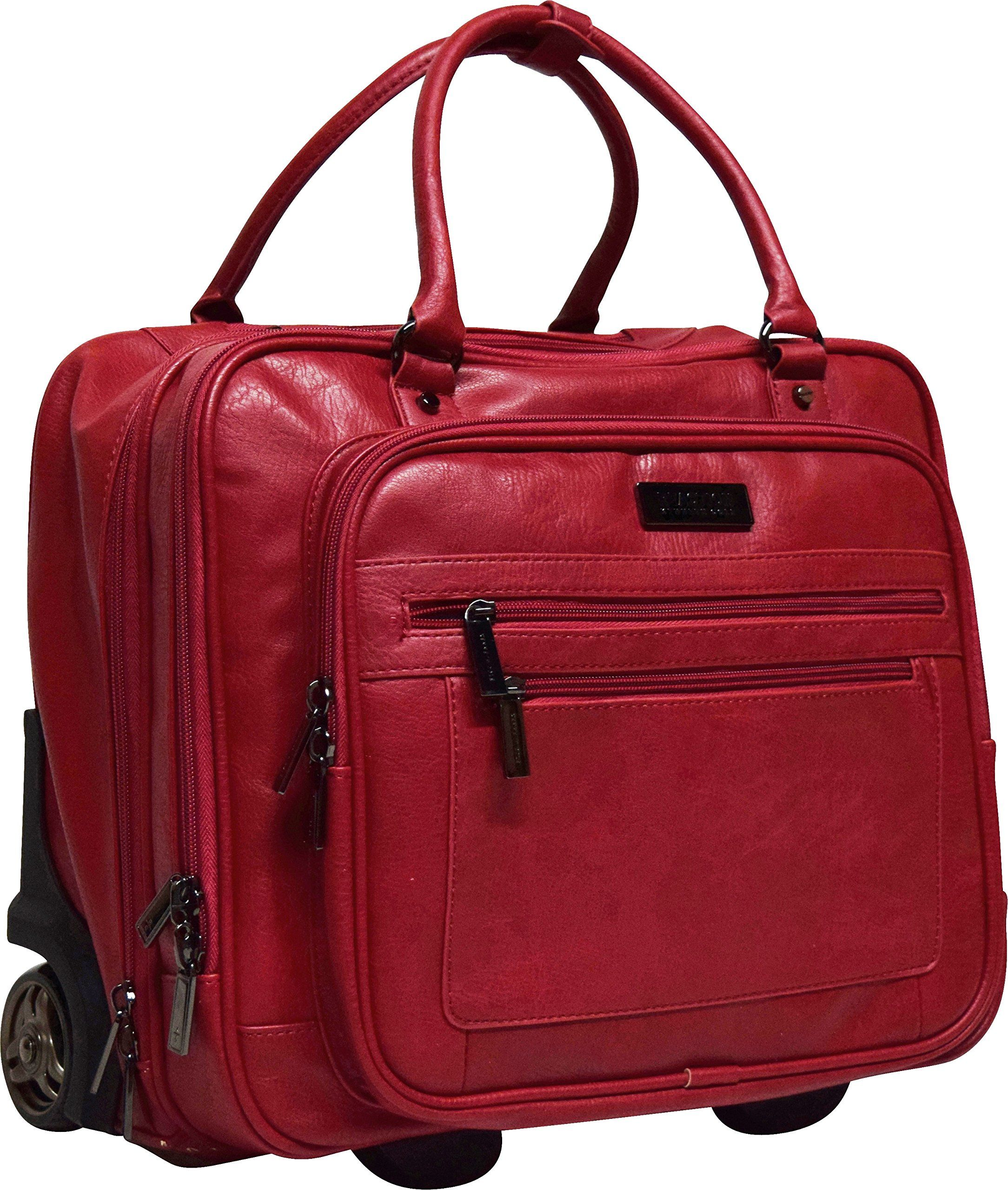 acda11838191 Kenneth Cole Reaction Wheel Fast Double Compartment Top Zip Wheeled  Computer Case Overnighter (Red)
