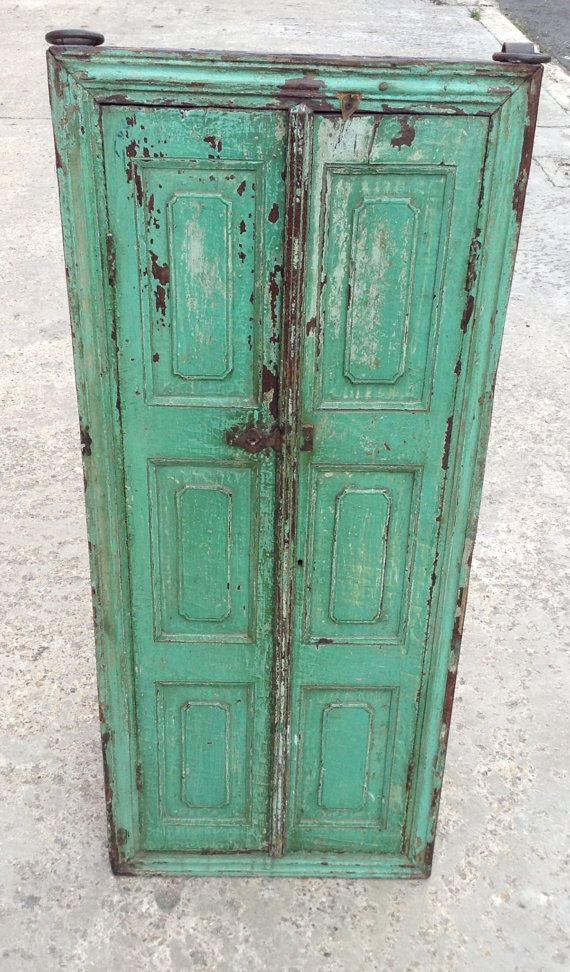 Antique Indian wooden shutter with mirror from by FARinlondon