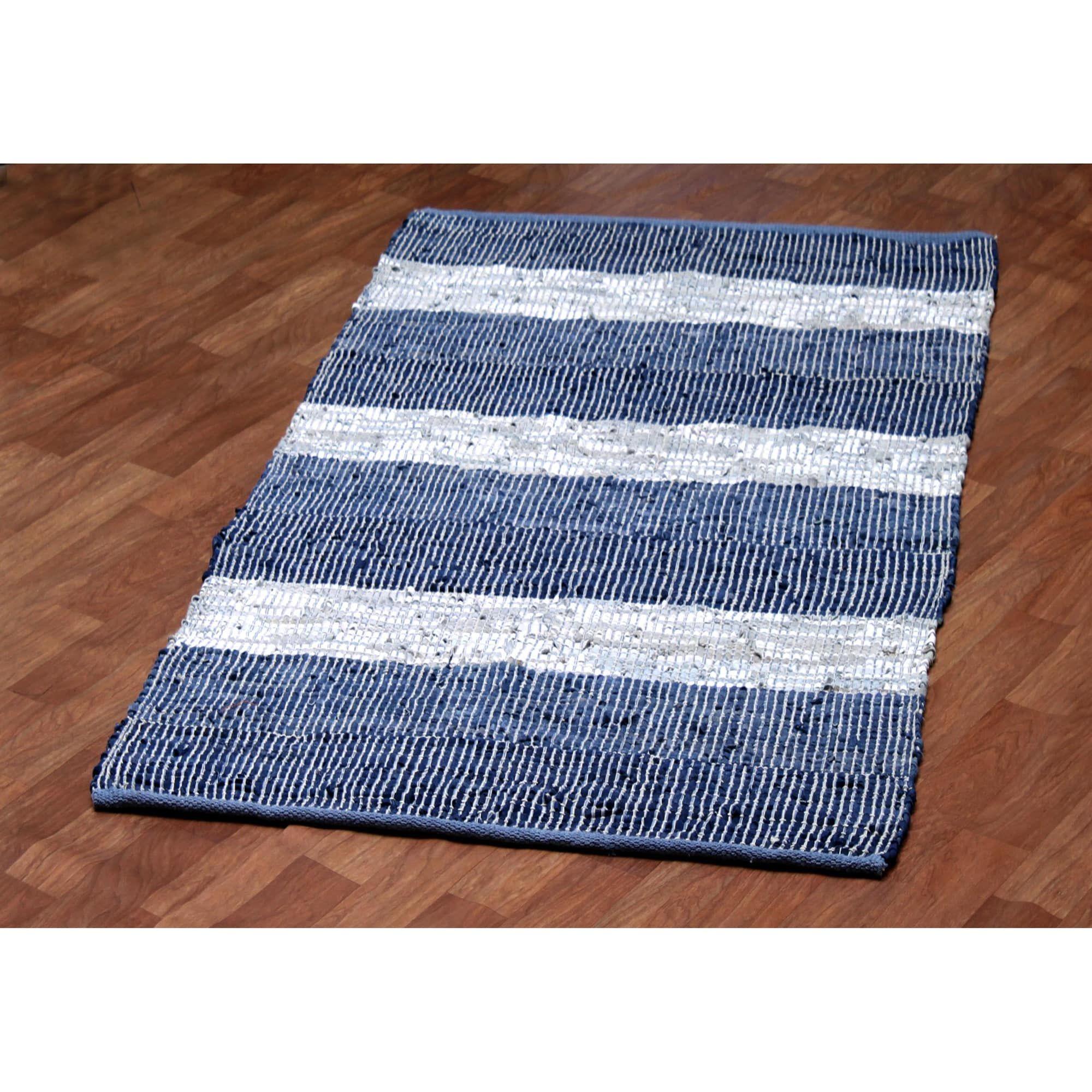 Hand Woven Matador Blue Stripe Leather Rug 8 X 10 8 X 10