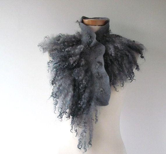 Fur collar Curly Felted collar Grey felt collar  Grey by galafilc