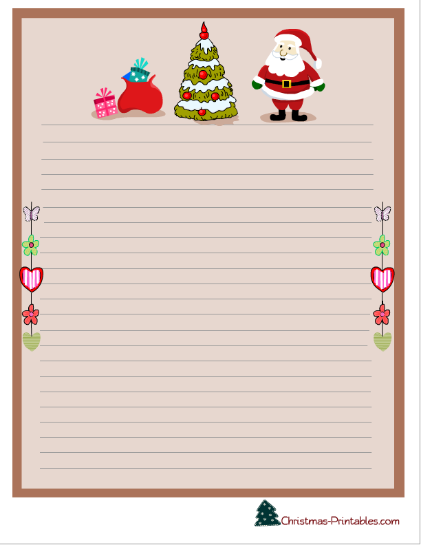 image relating to Printable Christmas Stationery identified as xmas stationery printable with santa, xmas tree