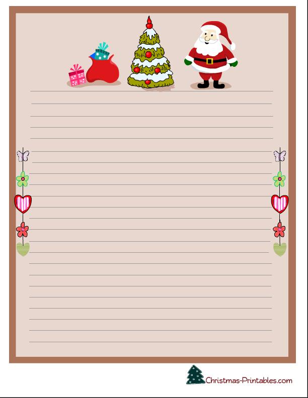 christmas stationery printable with santa, christmas tree and ...