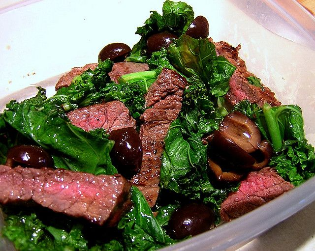 steak, kale and olive salad