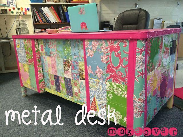 a metal desk makeover a preppy teacher desk makeover using old rh pinterest com