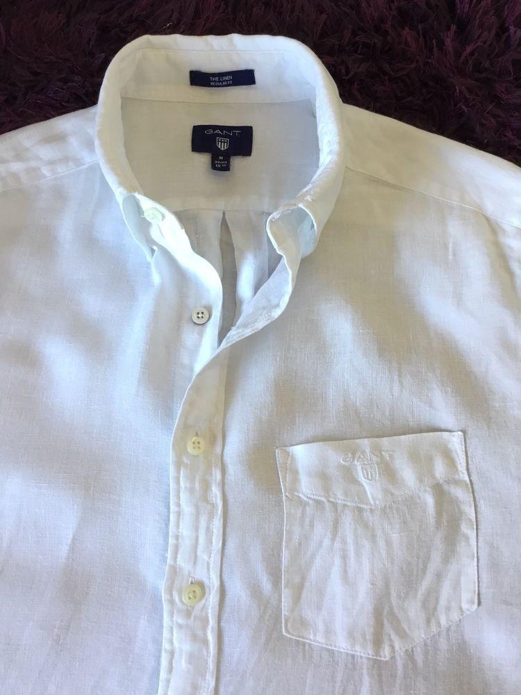 Super Cool 100 Genuine Mens Gant Short Sleeve White Linen Shirt In Medium White Linen Shirt Linen Shirt Shirts