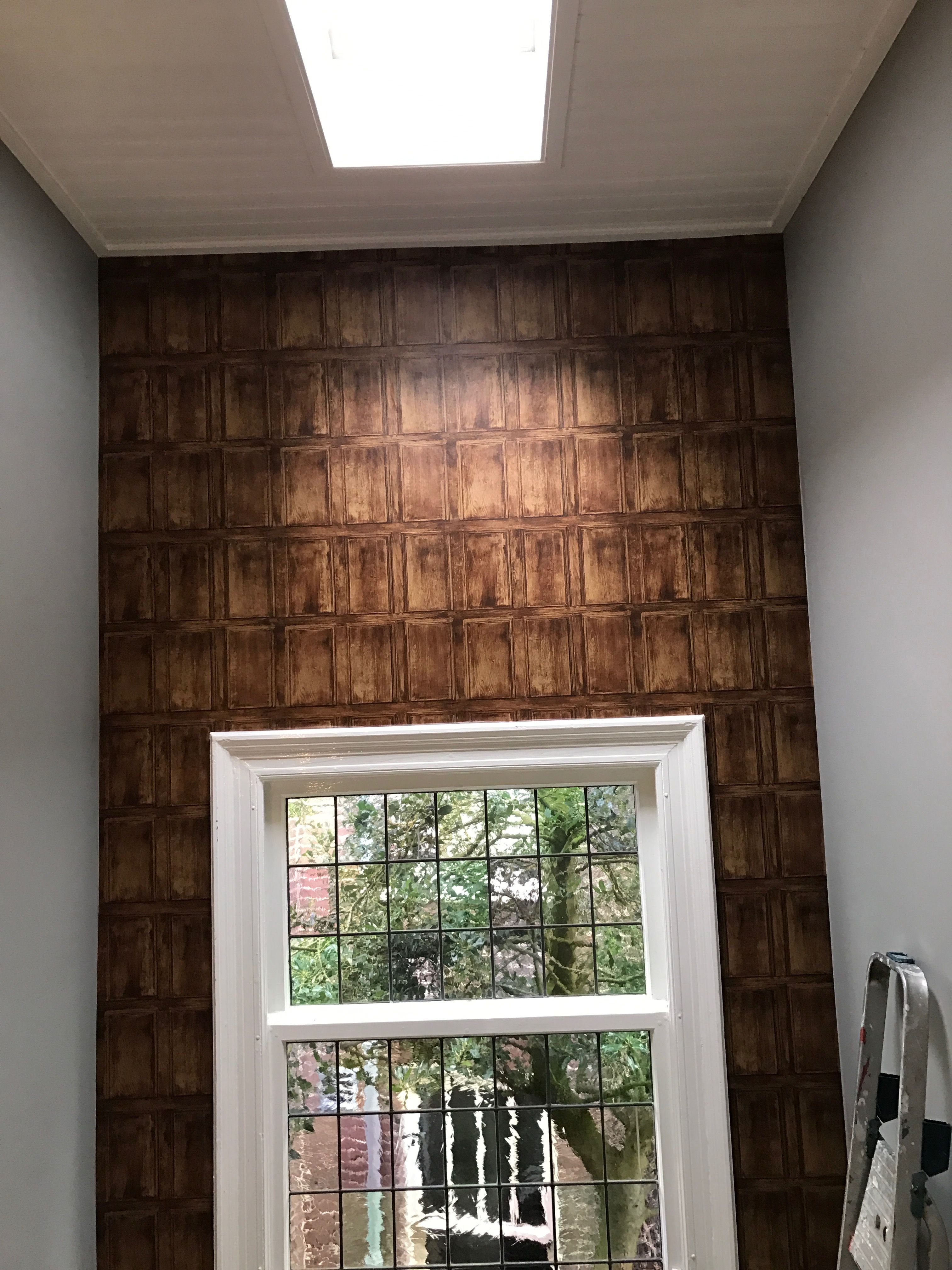 Trappenhuis behangen met deze zgn houten panelen te leuk mijn