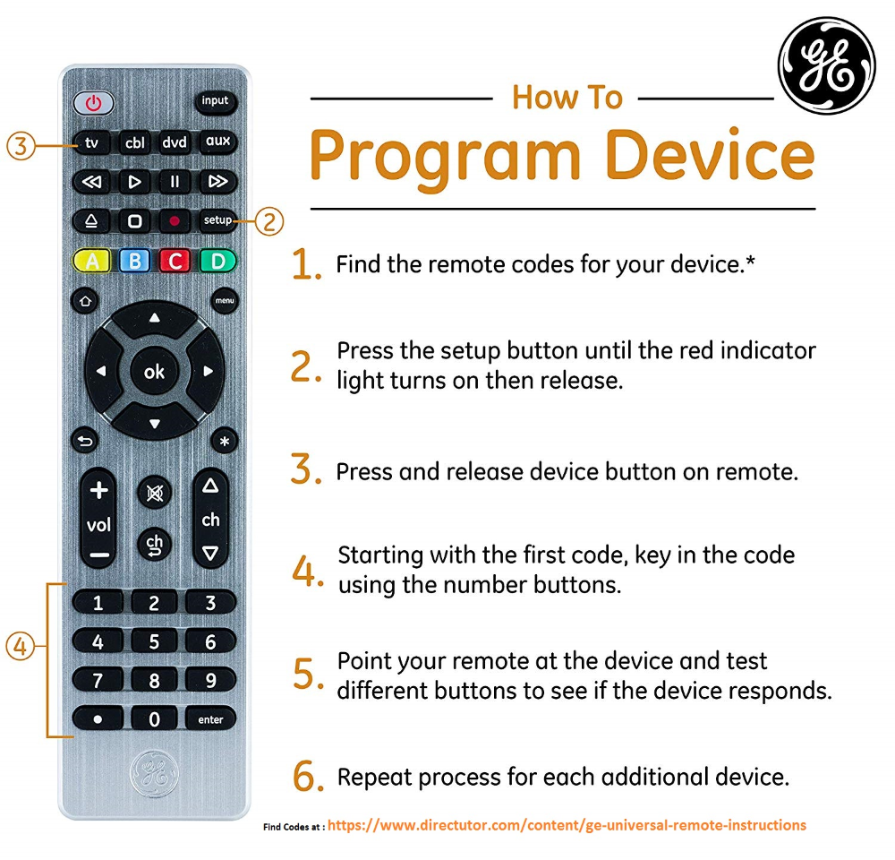 Ge Universal Remote Codes With Program Instructions Remote Coding Simple Tv