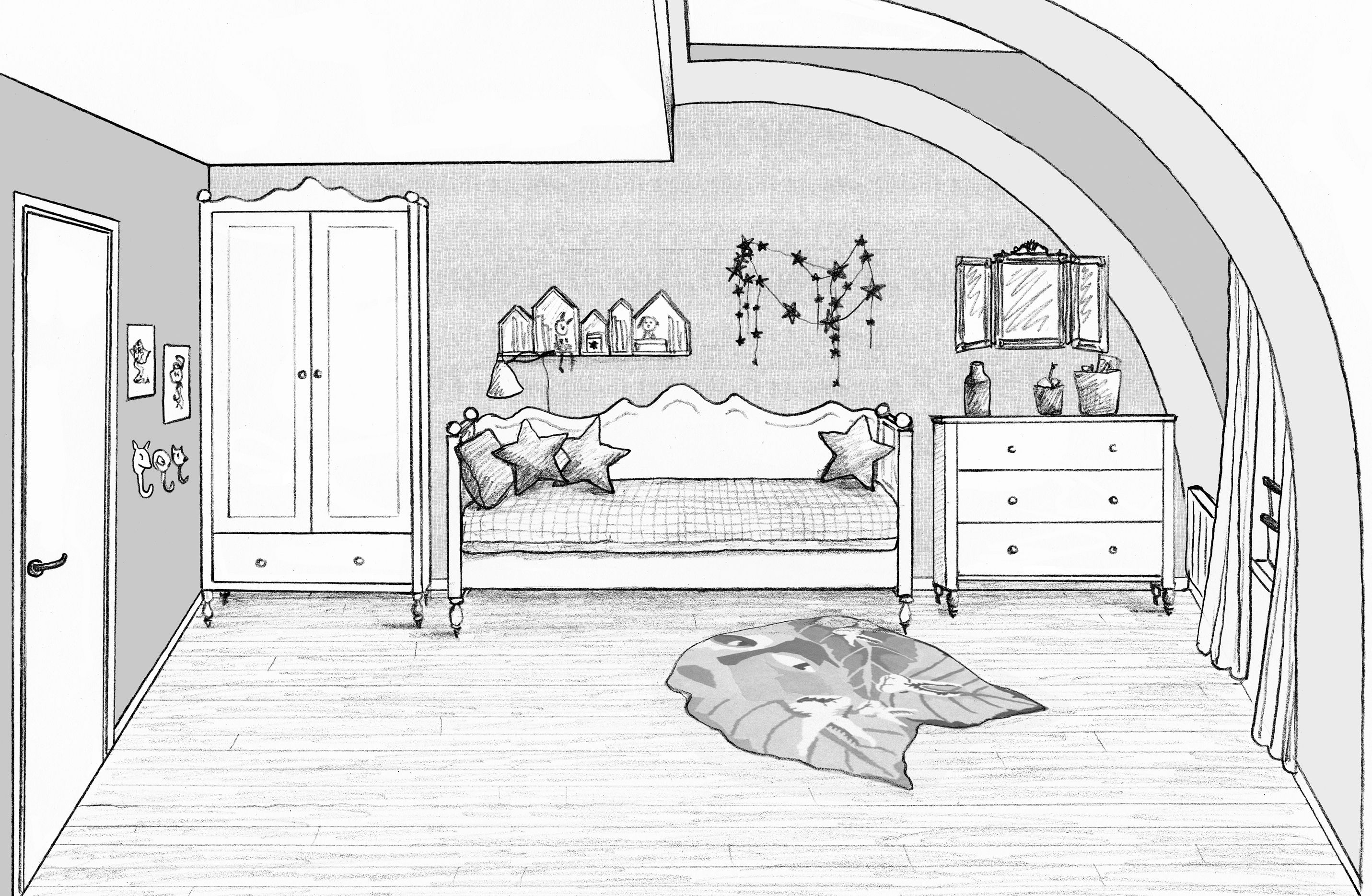 Chambre File La Reine Des Neige House Colouring Pages Interior Sketch Interior Design Drawings