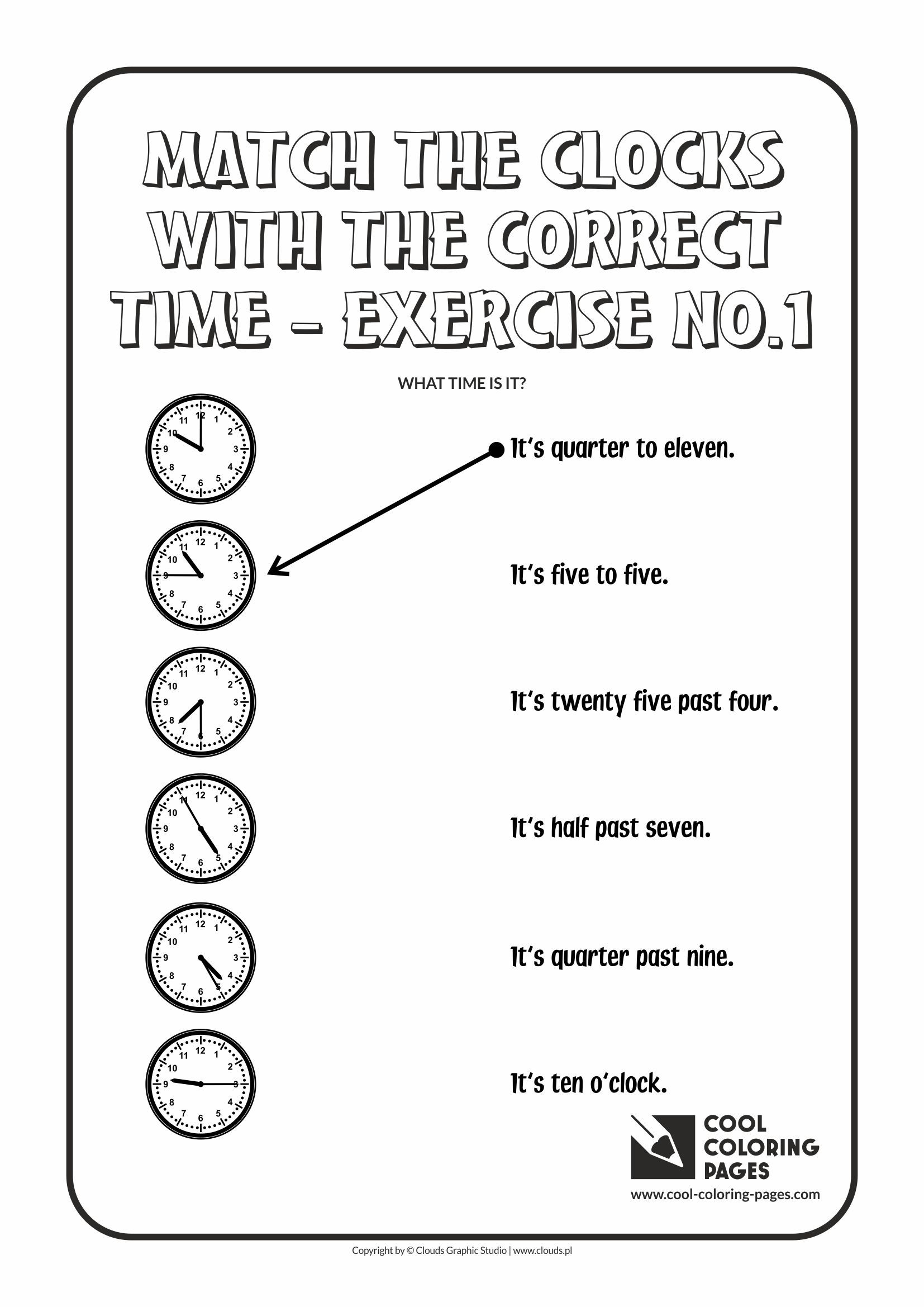Match The Clocks With The Correct Time No 1