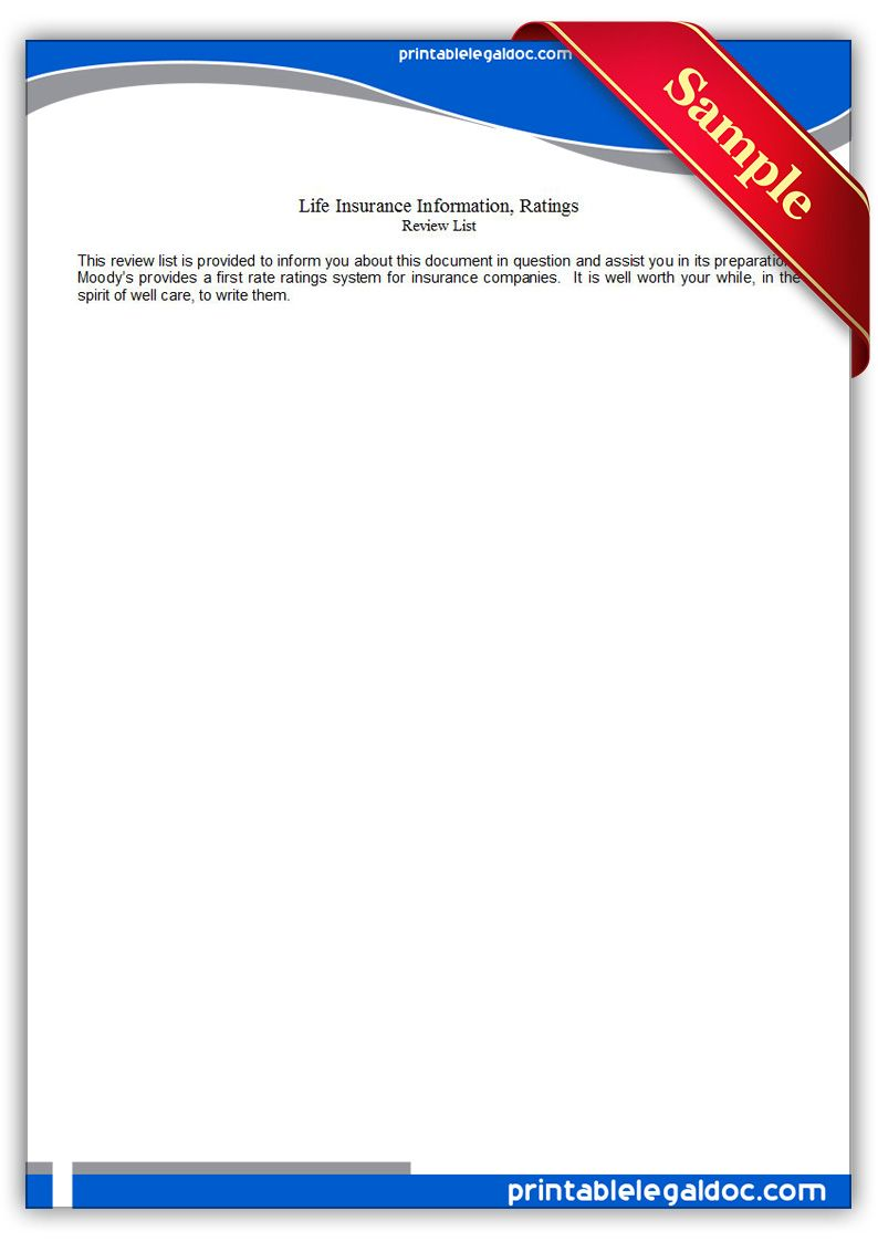 Free Printable Life Insurance Information Ratings Legal Forms