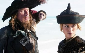 Barbossa, the monkey named Jack and Elizabeth Swann in POTC 3.