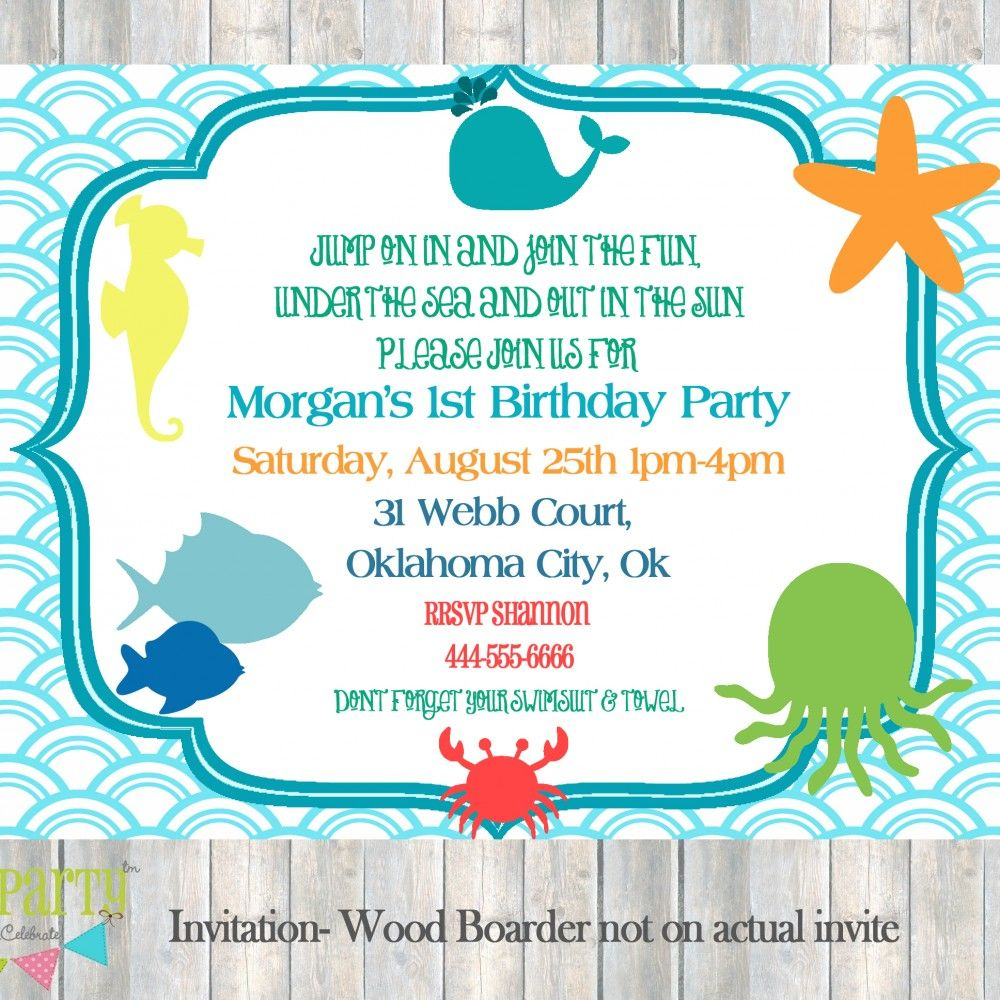 under the sea themed birthday invitations - Google Search | Ryder ...