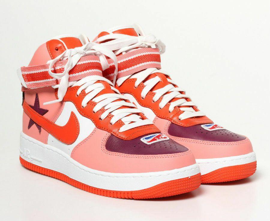 00c33e160ec6f Nike Sunblush & Bordeaux Leather Air Force 1 Hi-Top RT Sneakers Size US