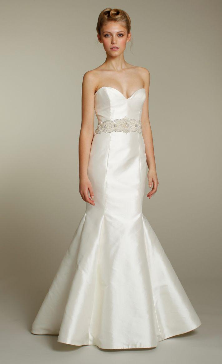 Sleek ivory sweetheart mermaid wedding dress with beautiful embellished sash-Tara Keely