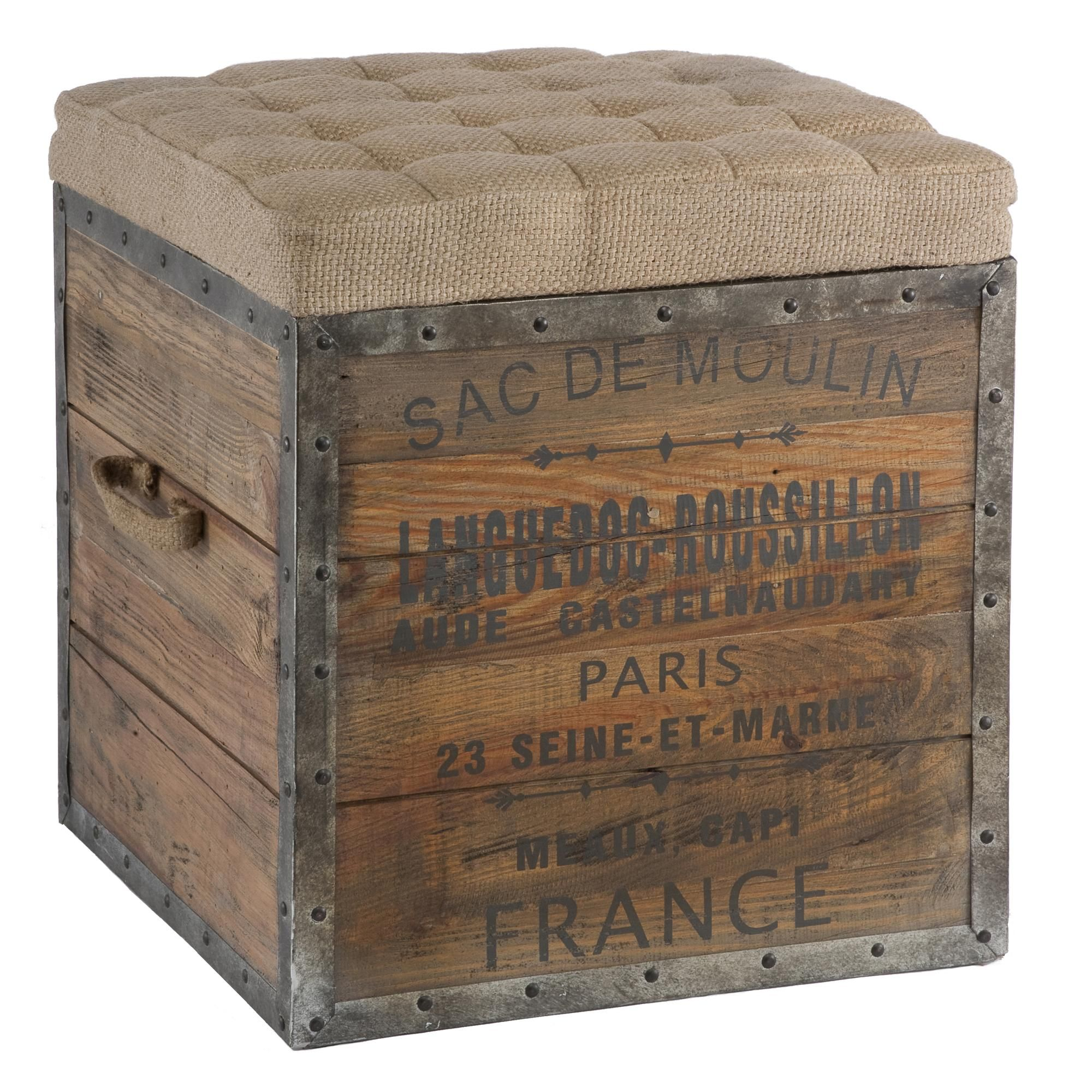 Distressed Wood Storage Ottoman ~ Aidan gray sac de moulin wooden cube wood crates