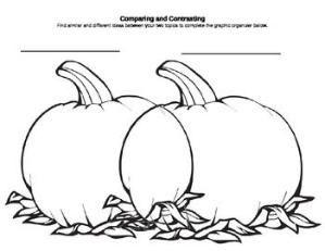 Compare/Contrast Pumpkin-Shaped Venn Diagram for Fall