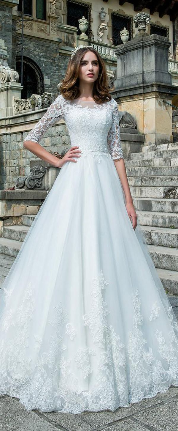 Fascinating Tulle & Lace Bateau Neckline A-Line Wedding Dress With ...