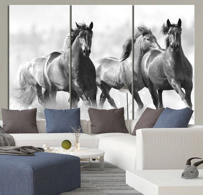 Large Wall Art Running Wild Horses Canvas Print - 3 Panel ...