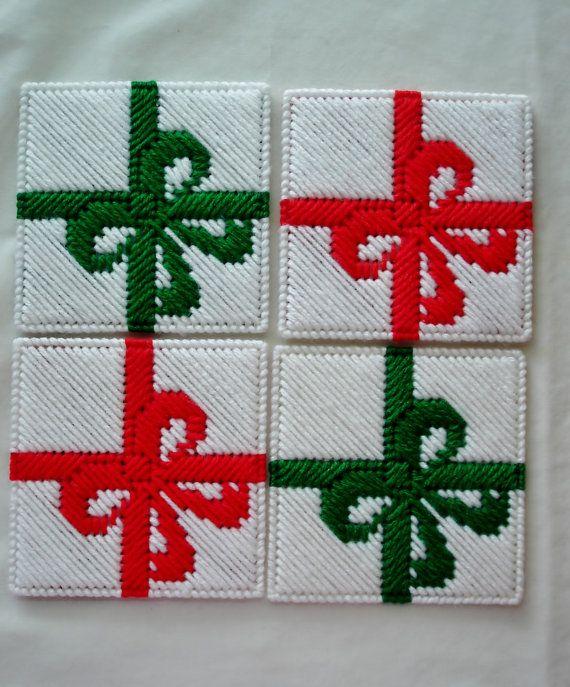 Handmade Christmas Present Coasters in Plastic Canvas