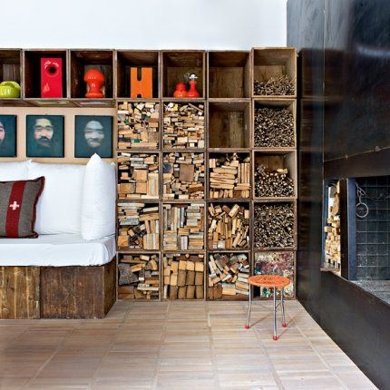 // wooden crates as book storage