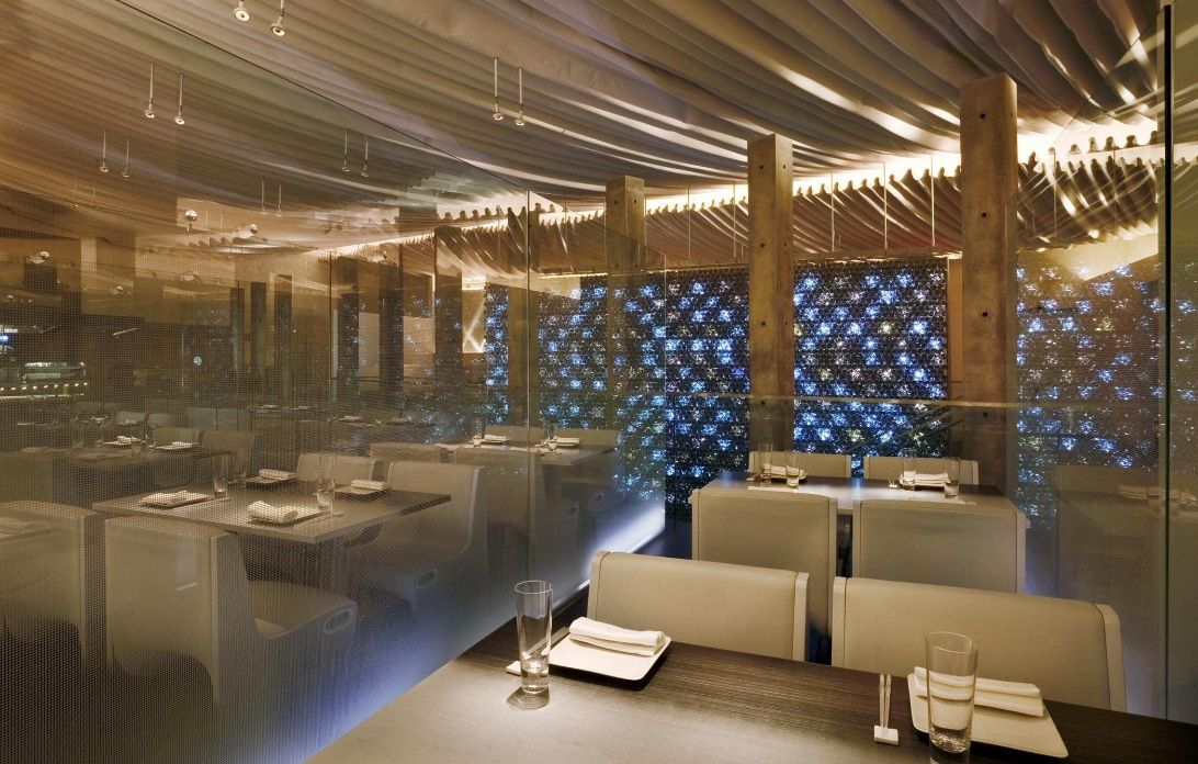 Morimoto Restaurant most attractive decor features 17 thousand bottle of waters and LEDs!