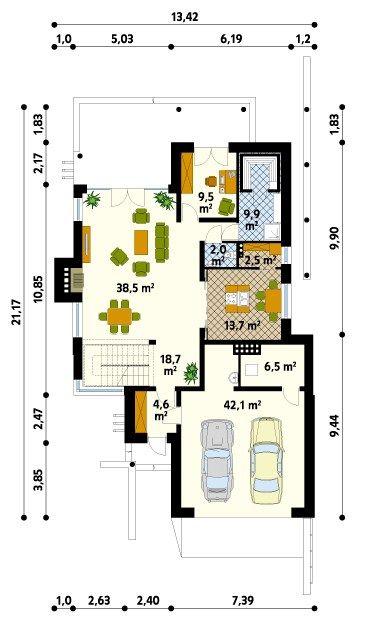 Plano De Casa Moderna Con Terraza En 2019 Planos De Casas