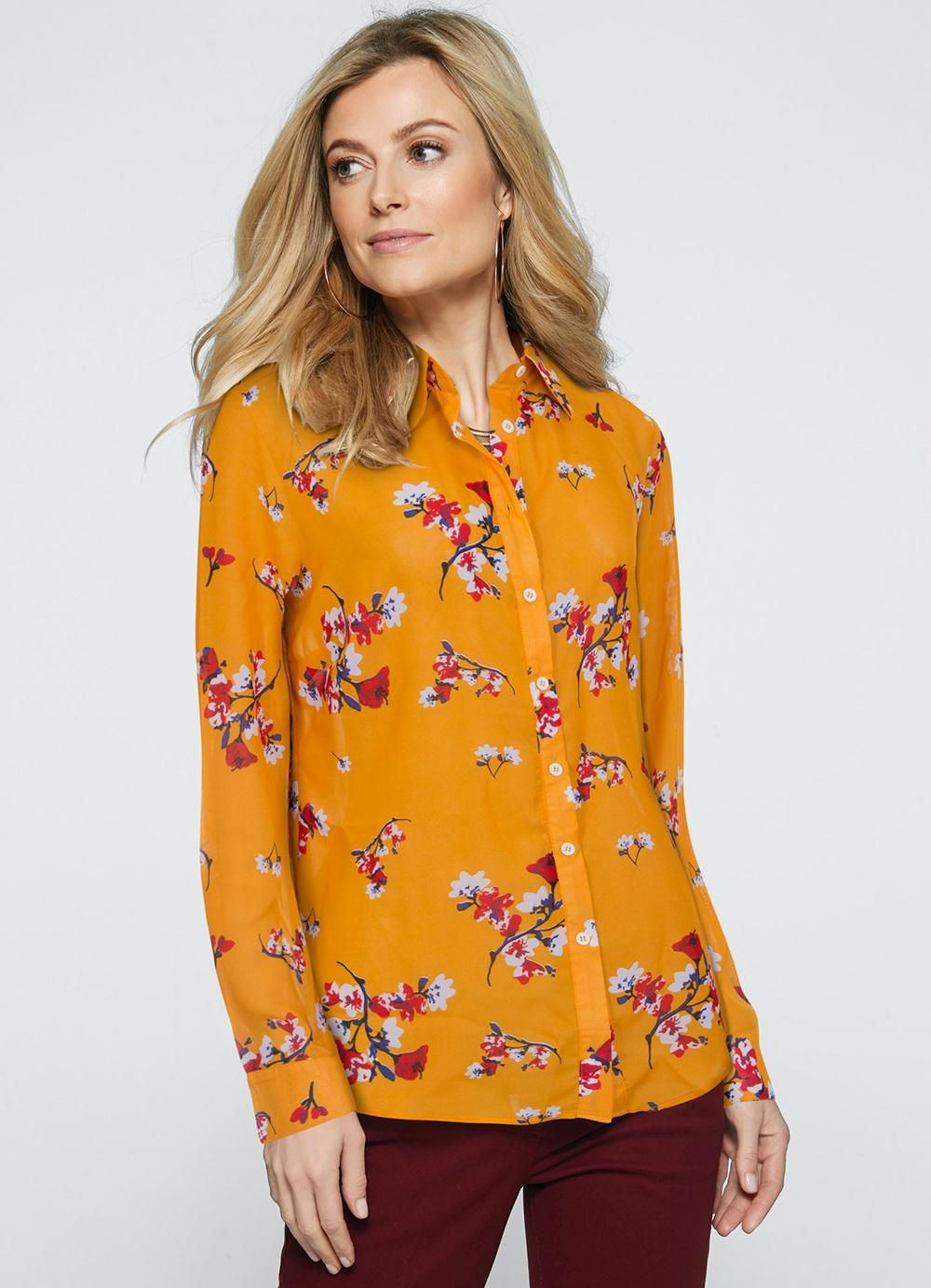 faf7018e71 Camisa Estampada Floral Laranja - bonprix