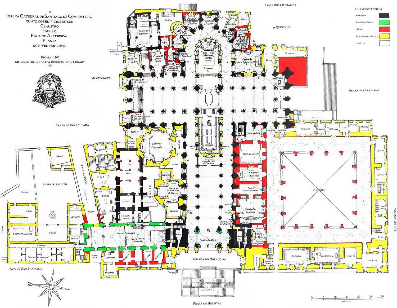 Plano De La Catedral De Santiago De Compostela Kenneth John Conant Santiago De Compostela Catedral Arquitectura