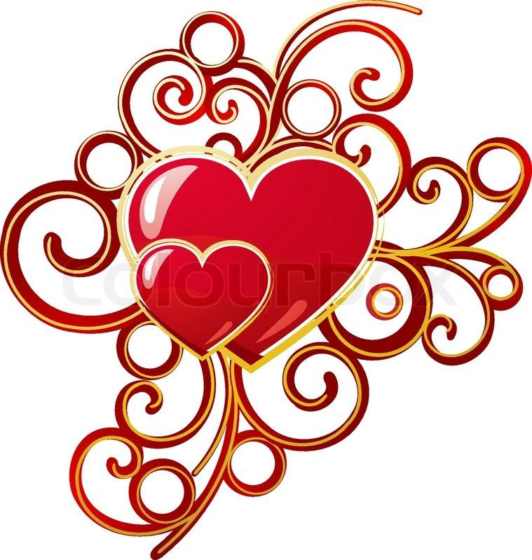 red valentine heart in floral style for design vector colourbox