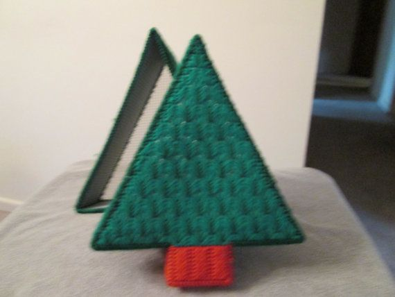Christmas Tree Covered Basket in Plastic by CraftsforSalebyJune