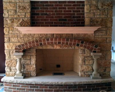 brick stone fireplaces chicago natural limestone fireplace in rh pinterest com brick and stone fireplace images Brick Fireplace with Stone Accents