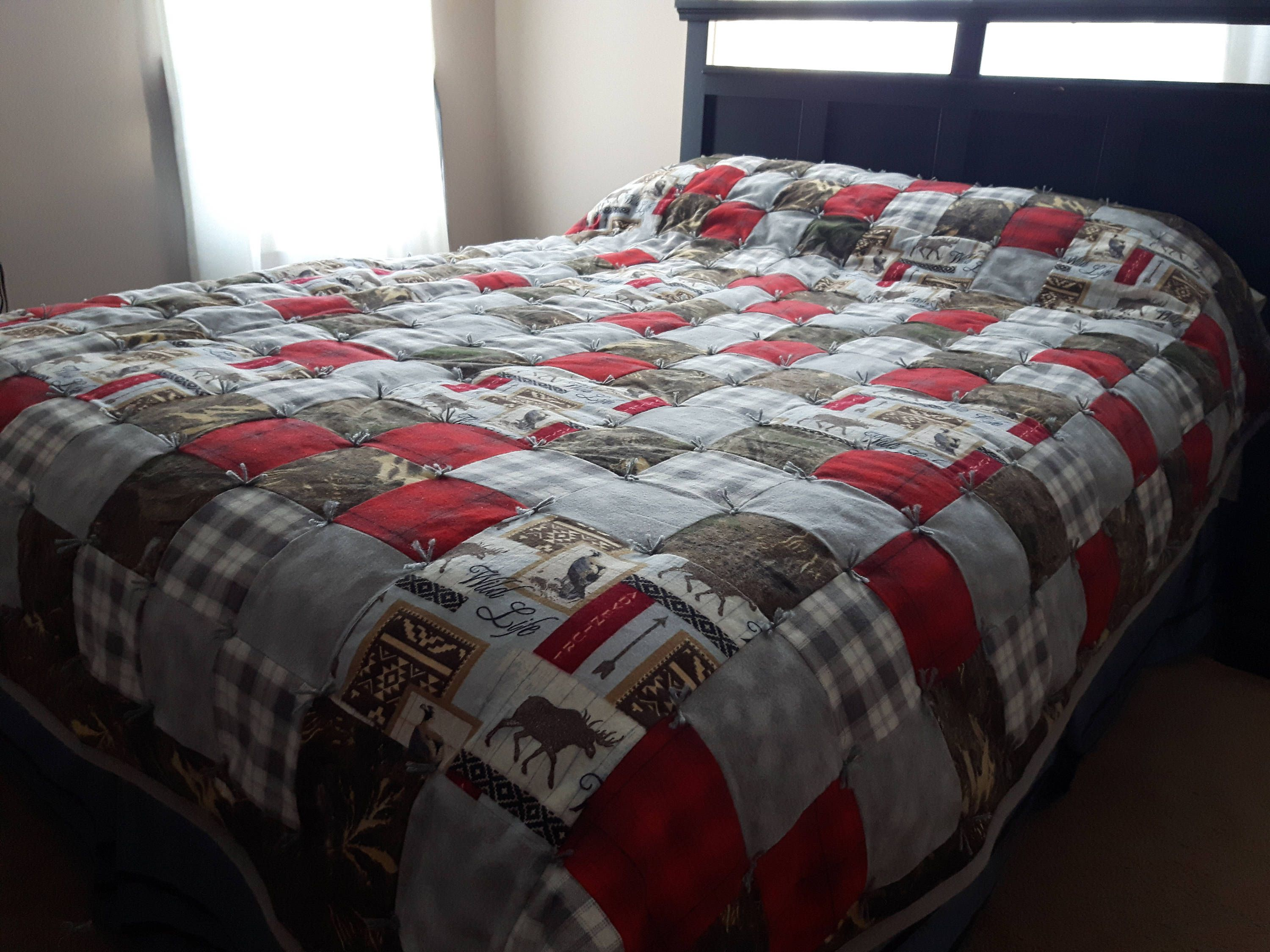 Handmade Wildlife Flannel Patchwork Quilt, Camo Quilt, Red Plaid Quilt,