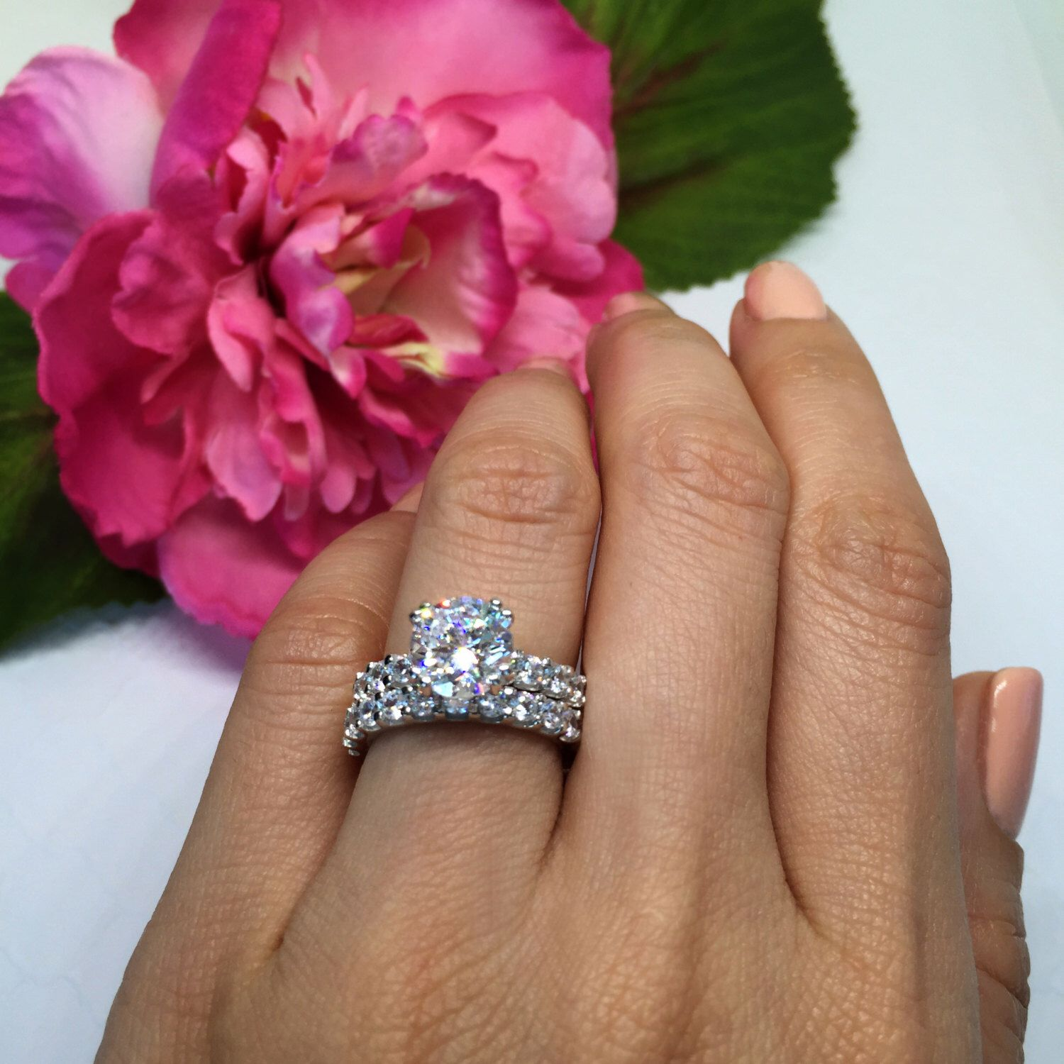 engagement diamond center full solitaire rings ctw pin simulant set eternity stone ring ct wedding